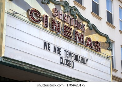 Berkeley, California - April, 2020 - Temporary closure of Shattuck Cinemas, a local movie theater in downtown Berkeley. Shelter in place order due to the Coronavirus.