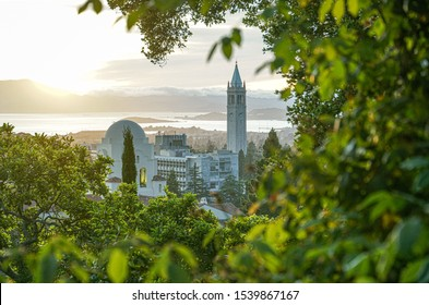 BERKELEY, CALIFORNIA -- AUGUST 21, 2019: View of Berkeley Skyline, including Sather Tower, or Campanile, and International House, with San Francisco Bay in the background.