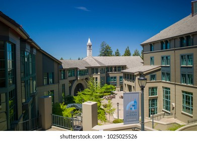 Berkeley, California - July 10 2009: The modern campus of Haas Business School in UC Berkeley, which is a top ranked school in the world.