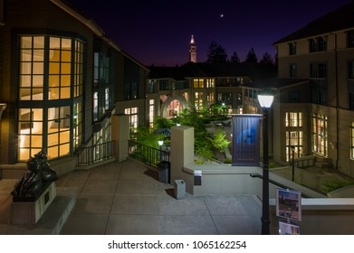 Berkeley, California - July 10 2009: The night view of modern campus of Haas Business School in UC Berkeley, which is a top ranked school in the world.