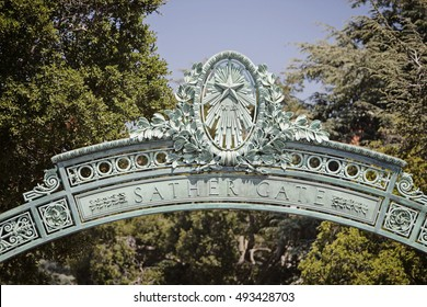Berkeley, California - July 16, 2009: Sather Gate, a landmark built in 1910, connects Sproul Plaza to the center of the college campus.