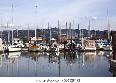 Berkeley, California marina with hills and blue sky. Horizontal.