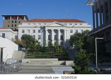 BERKELEY, CALIFORNIA - NOVEMBER 23, 2016: Sproul Hall as viewed from Lower Sproul Plaza houses student and admission offices. Its conspicuous location make it a natural stage for student protests.
