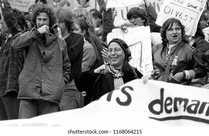 """Berkeley, California / USA - April 14, 1985: The """"Bubble Lady,"""" a fixture at all protest demonstrations at the University of California Berkeley, at an anti-apartheid protest on April 14, 1985."""