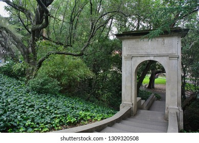 Berkeley, California / USA - February 8, 2019: The gift of the class of 1910 is the the bridge over Strawberry Creek. The inscription, in Latin, is dedicated to Phoebe Hearst.