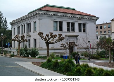 Berkeley, California / USA - February 8, 2019: Berkeley, California / USA - February 8, 2019: Durant Hall, designed by John Galen Howard, built in the Beaux Arts style. The building opened in 1911.