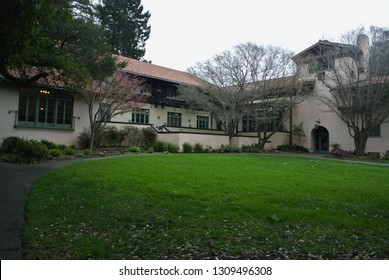 Berkeley, California / USA - February 8, 2019: The Faculty Club opened in 1902. The building designed by Bernard Maybeck is a Berkeley landmark. The Faculty Glade leads to the entrance of the club.