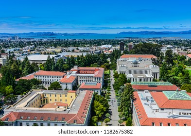 Berkeley, California / USA - July 17, 2012: View of UC Berkeley and distant Golden Gate Bridge from Sather Tower.