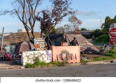 Berkeley, California / USA - May 4 2019: Homeless encampment at Hearst Ave and Eastshore Highway in Berkeley.