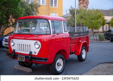Berkeley, California / USA - May 9, 2019: Very nice example of a red Jeep FC-150