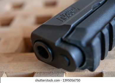 Berkeley, California/USA - May 11, 2019: Muzzle of a 9mm Smith & Wesson M&P