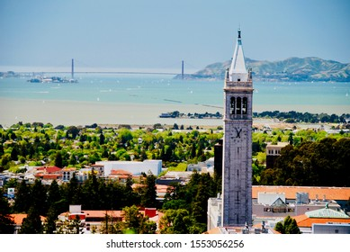 Berkeley, CA/USA - April 29 2011: Sather Tower (Campanile) of the University of California (Cal), and the city of Berkeley. Also visible is the Golden Gate Bridge in San Francisco.