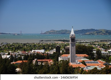 Berkeley, CA/USA - April ‎29 20‎11: View from Big C of the University of California, and the city of Berkeley. Also known as Cal. Also visible is the Golden Gate Bridge in San Francisco.