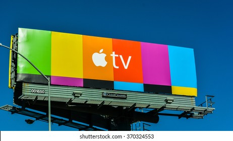 Berkeley, CA/USA - Jan. 31, 2016: Apple TV billboard on Hwy. 80. Apple TV is a digital media player and a microconsole developed and sold by Apple Inc.
