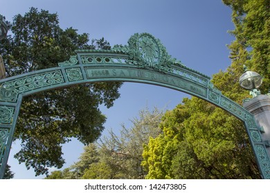 BERKELEY, CA/USA - JUNE 15: Historic Sather Gate on the campus of the University of California at Berkeley is a prominenet landmark leading to Sproul Plaza.  June 15, 2013.