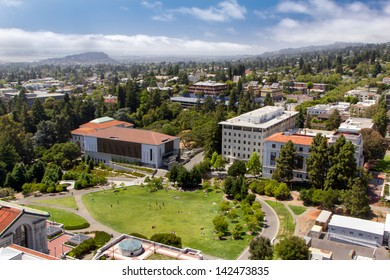 BERKELEY, CA/USA - JUNE 15: Overhead view of historic University of California at Berkeley with the San Francisco Bay skyline in background. June 15, 2013.