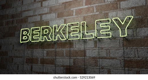 BERKELEY - Glowing Neon Sign on stonework wall - 3D rendered royalty free stock illustration.  Can be used for online banner ads and direct mailers.