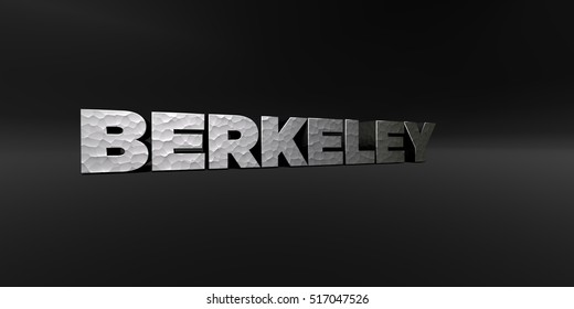 BERKELEY - hammered metal finish text on black studio - 3D rendered royalty free stock photo. This image can be used for an online website banner ad or a print postcard.