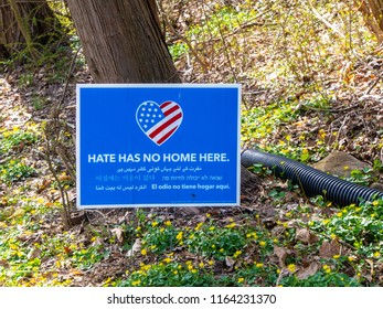 Berkeley Heights, New Jersey / USA - 04/21/2018: political sign in garden