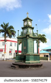 The Berkeley Memorial Clock on the circus roundabout in the center of town, Basseterre, St. Kitts, West Indies