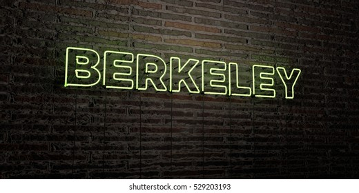 BERKELEY -Realistic Neon Sign on Brick Wall background - 3D rendered royalty free stock image. Can be used for online banner ads and direct mailers.