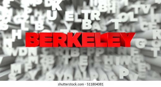BERKELEY -  Red text on typography background - 3D rendered royalty free stock image. This image can be used for an online website banner ad or a print postcard.