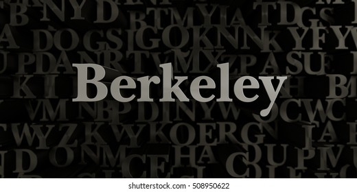 Berkeley - Stock image of 3D rendered metallic typeset headline illustration.  Can be used for an online banner ad or a print postcard.