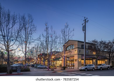 BERKELEY, USA - DECEMBER 25, 2017: Christmas lights on 4th Street - Fourth Street Shops in Berkeley. Fourth Street is the most upscale shopping district in Berkeley, and one of the most original.
