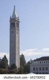 Berkeley, USA - January 3 2011: The Sather Tower, a campanile (clock tower), with clocks on its four faces, on the University of California, Berkeley campus