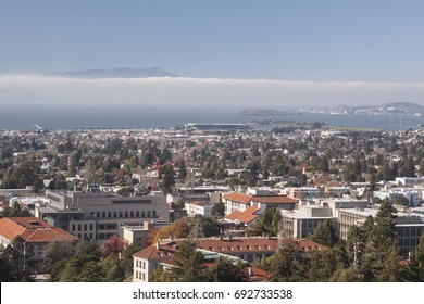 Berkeley, USA - January 3 2011: The skyline of the University of California, Berkeley campus and the neighborhood viewed from the top of Sather Tower.