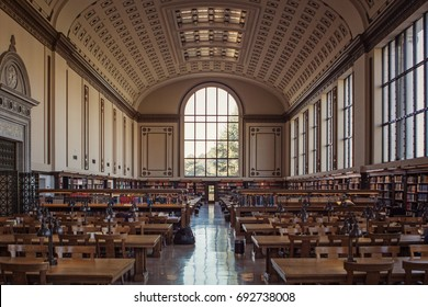 Berkeley, USA - January 3 2011: The reading room of Doe Memorial Library in the University of California, Berkeley campus
