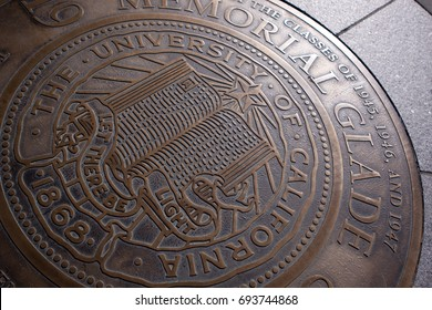Berkeley, USA - January 3 2011: The seal of the University of California, Berkeley campus on the ground
