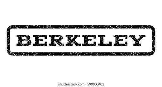 Berkeley watermark stamp. Text caption inside rounded rectangle with grunge design style. Rubber seal stamp with dust texture. Raster black ink imprint on a white background.