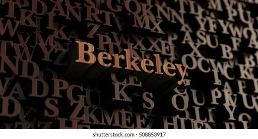Berkeley - Wooden 3D rendered letters/message.  Can be used for an online banner ad or a print postcard.