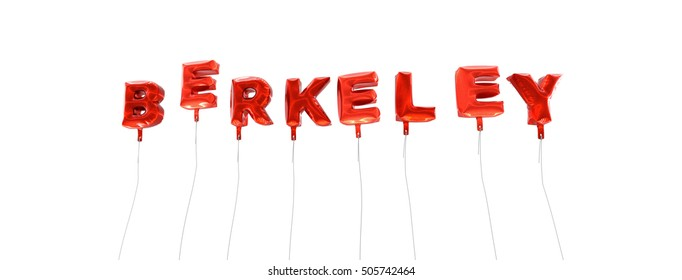 BERKELEY - word made from red foil balloons - 3D rendered.  Can be used for an online banner ad or a print postcard.