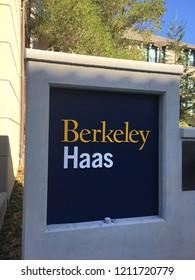 Berkeley,Ca OCtober 4 2018: University of California Berkeley Haas school of business building entrance sign.