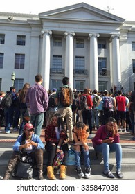 BERKELEY,CA-NOV 5, 2015: 700 Berkeley High School students waged a non-violent protest over anonymous racist hate messages found on campus. They marched through town to UC Berkeley, shown here.
