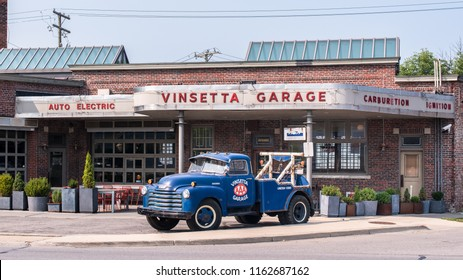BERKLEY, MI/USA - AUGUST 16, 2018: A vintage Chevrolet tow truck at the historic Vinsetta Garage, at the Woodward Dream Cruise, the world's largest one-day automotive event and National Scenic Byway.