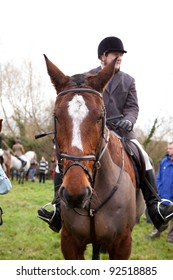 BERKSHIRE - DECEMBER 26: A rider straddles his horse at the Stanford Dingley Boxing Day Hunt on December 26, 2011 in Berkshire.