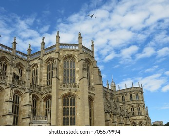 """Berkshire, England, 16 August 2017, Outside of St George's Chapel at Windsor Castle and the """"Beasts"""" shown atop the pinnacles"""