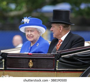BERKSHIRE - JUN 17, 2015: Queen Elizabeth II and Prince Philip attend Royal Ascot day two on Jun 17, 2015 in Berkshire