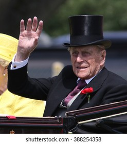 BERKSHIRE - JUN 19, 2015: Prince Philip attends Royal Ascot day four on Jun 19, 2015 in Berkshire