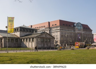 BERLIN, 09 MARCH: The Wittenbergplatz U-Bahn station and the KaDeWe in Charlottenburg in Berlin on 09 March 2016.