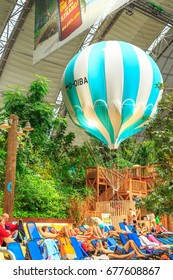 BERLIN - 18 NOVEMBER, 2016: The Luxury Tropical Island in Germany under Roof with Attractions, Beach, SPA Center and Balloon