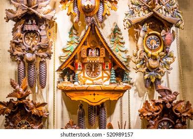 BERLIN - 18 november, 2016: Old Vintage Wooden Cuckoo Clocks in the Christmas Shop, Berlin, Germany