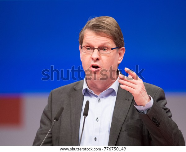Berlin, 2017-12-07: Ralf Stegner member of the social democrats speaks at the party conference in Berlin