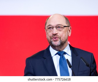 Berlin, 2017-12-15: Martin Schulz. party leader of the social democrates speaks at the headquarter in Berlin