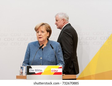 Berlin, 2017-9-10 German Chancellor Angela Merkel and Horst Seehofer go on stage at the press conference in the CDU central office