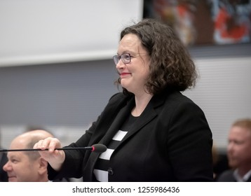 Berlin, 2018-12-11: The  chair woman  of the SPD, Andrea Nahels is about to open the faction meeting at the German Bundestag in Berlin