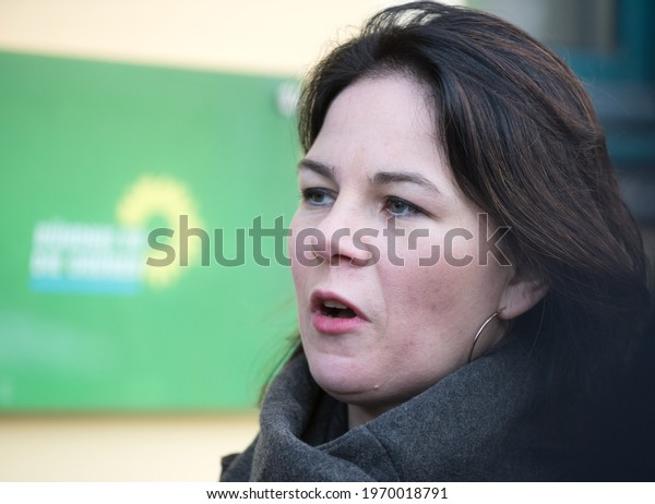 Berlin, 2019-01-14:  Annalena Baerbock answers questions at the party headquarters in Berlin